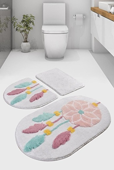 Chilai Home Rüya 3'lü Set Klozet Takımı Akrilik Banyo Paspası Beyaz